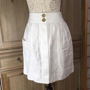 J. Crew Ivory Linen Button Down Skirt Sz 00